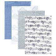 Hudson Baby 4 Piece Muslin Swaddle Blanket, Blue