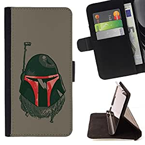 DEVIL CASE - FOR LG Nexus 5 D820 D821 - The Bounty Hunter Helmet - Style PU Leather Case Wallet Flip Stand Flap Closure Cover