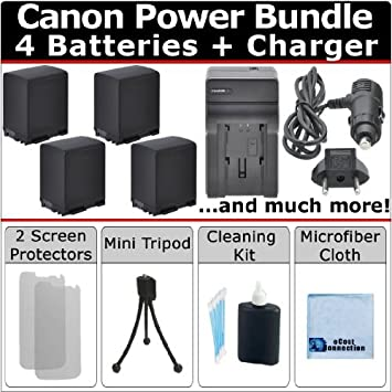 4 BP-827 Batteries + AC/DC Turbo Charger with Travel Adapter + Complete Deluxe Kit for Canon Vixia HF10 HF11 HF100 HF20 HF200 HF S10 HFS10 HF S11 HFS11 HF ...
