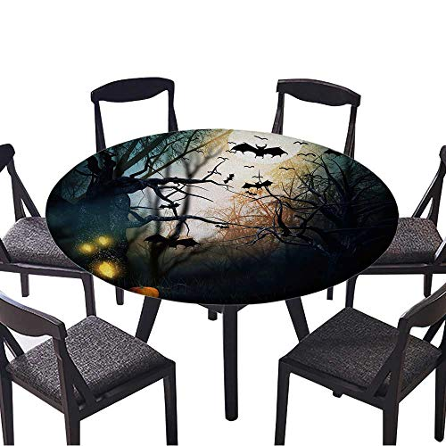 Round Premium Table Cloth Scary Halloween Backdrop Perfect