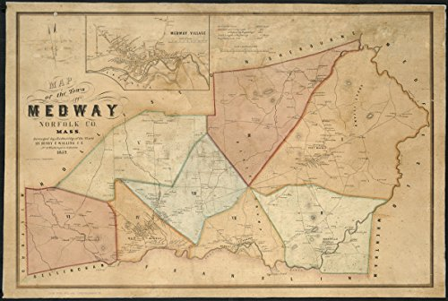 Historic Map | 1852 Map of the town of Medway, Norfolk Co., Mass | Antique Vintage Reproduction by historic pictoric
