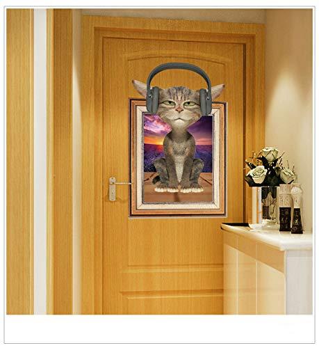 qingyuge Wall Sticker Listen to Music Cartoon 3D Cat Sticker Kids Rooms Home Decor Living Room Bedroom Sticker Mural