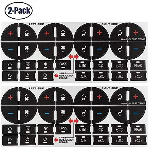 (Meethome 2pcs AC Dash Button Sticker Repair Kit Buttons Sticker, Fix Ruined Faded Climate Control Button Stickers Decals Compatible 2007-2013 GM GMC Chevy Chevrolet 2009-2012 Buick Saturn)