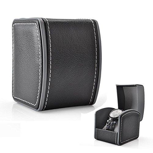 GossipBoy Luxus Einzel Leder Geschenk Schmuck Armbänder Bangles Box Uhr Armbanduhr Gehäuse Geschenk Box 10 x 8,5 x 7,5 cm,Schwarz (Grau Kissen im Lieferumfang enthalten)
