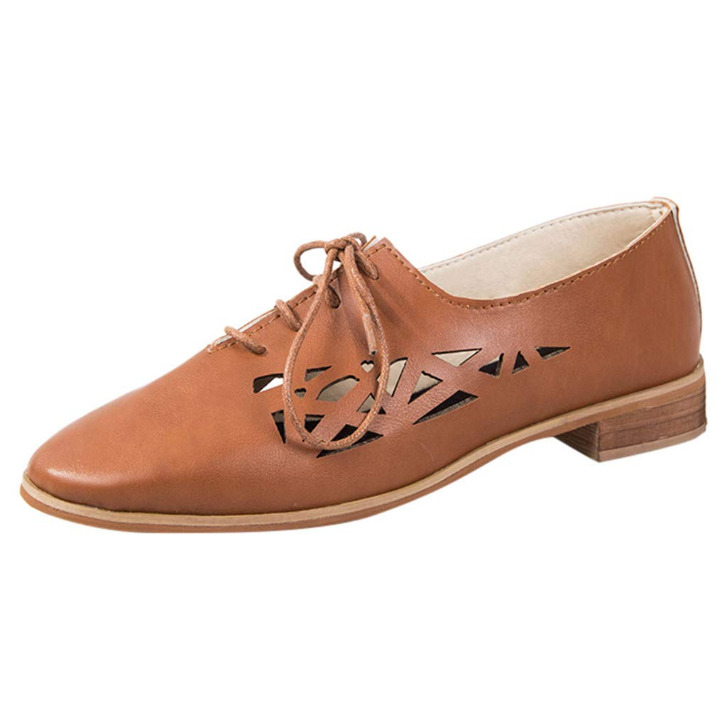 HENWERD Women's Breathable Flats Casual Pointed Toe Lace-Up Square Toe Single Shoes (Brown,9 US)