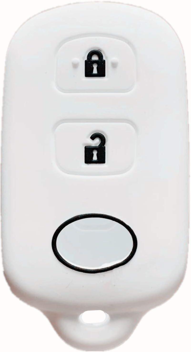 whi Rpkey Silicone Keyless Entry Remote Control Key Fob Cover Case protector For Scion xA xB Toyota Celica Echo FJ Cruiser Highlander Prius RAV4 Tacoma Tundra Yaris HYQ12BBX HYQ12BAN 89742-42120 13663