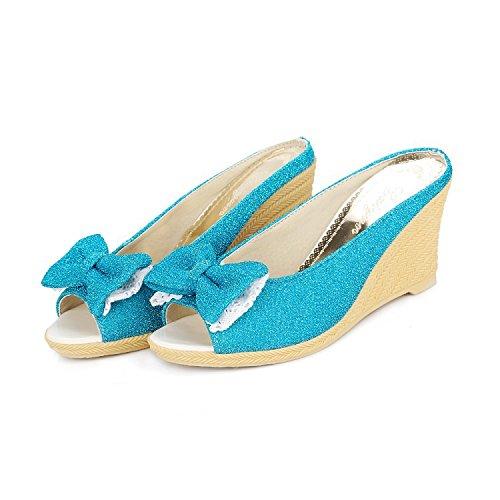 QIN&X Damen Sandalen mit Keilabsatz Sommer Peep Toe Flip Flop Schuhe Blue