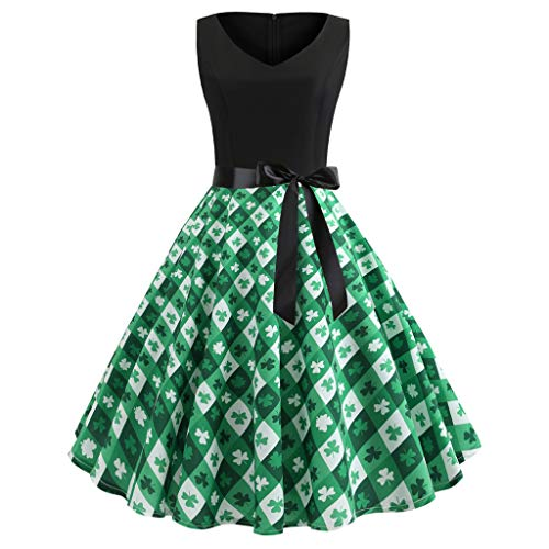 men Shamrock Evening Print Party Prom Swing Dress ()
