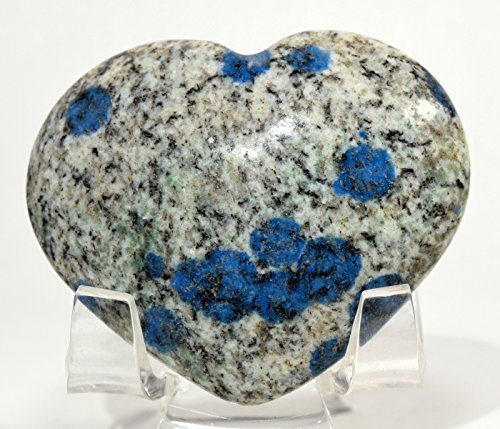 52mm 250ct K2 Jasper Blue Azurite in Granite Biotite Matrix Heart Polished Natural Dotted Gemstone Crystal Mineral Specimen Pakistan + Stand ()