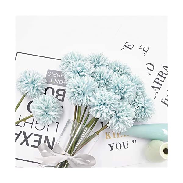 Jasion 10pcs Artificial Chrysanthemum Ball Flowers Bouquet for Present Home Office Coffee House Parties and Wedding Decoration (Light Blue)