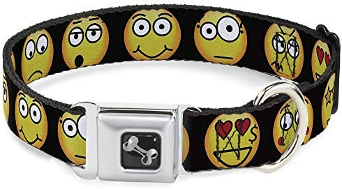 Buckle Down Emojis 9expressions Negro Collar de Perro Hueso ...