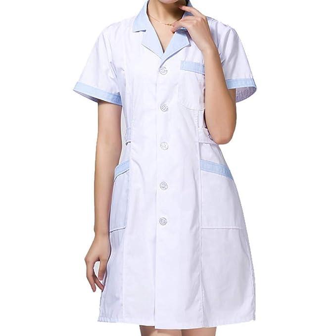 ESENHUANG Las Mujeres De Manga Corta Bata De Laboratorio Enfermera Ropa De Trabajo Médico Uniforme Médico: Amazon.es: Ropa y accesorios