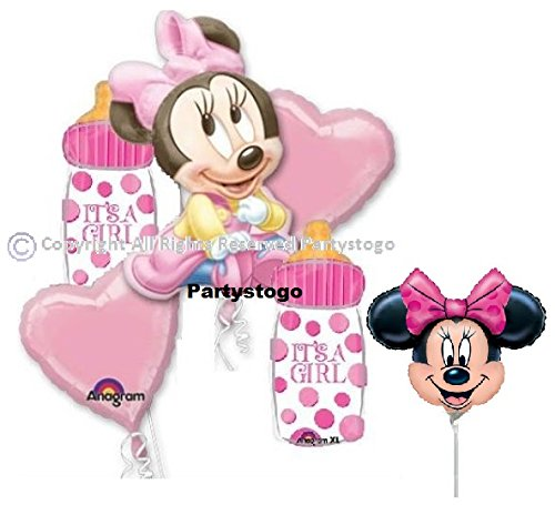 MINNIE MOUSE BABY SHOWER BALLOONS BOUQUET WITH MINI SHAPE DECORATIONS SUPPLIES ()