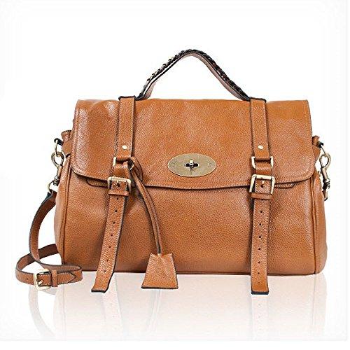 Cowhide Satchel Shoulder Daily Handbag Large (brown)