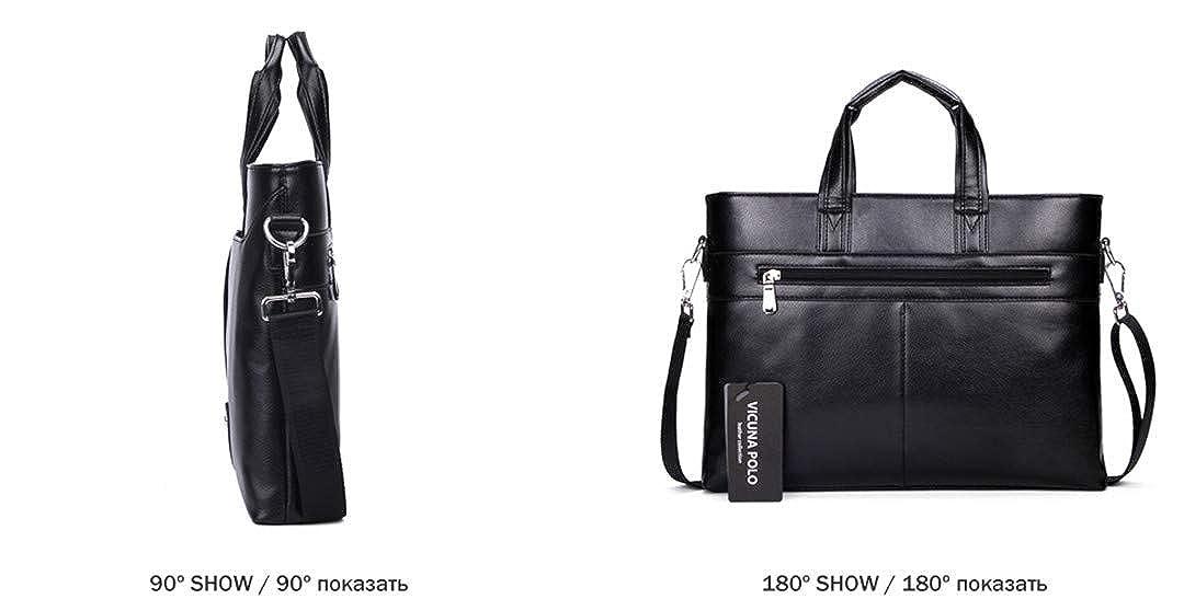 Mens Leather Briefcase Bag Solid Large Business Man Bag Laptop Handbag
