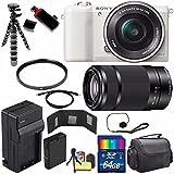 Sony Alpha a5100 Mirrorless Digital Camera with 16-50mm Lens (White) + Sony E 55-210mm f/4.5-6.3 OSS E-Mount Lens 64GB Bundle 21 - International Version (No Warranty)