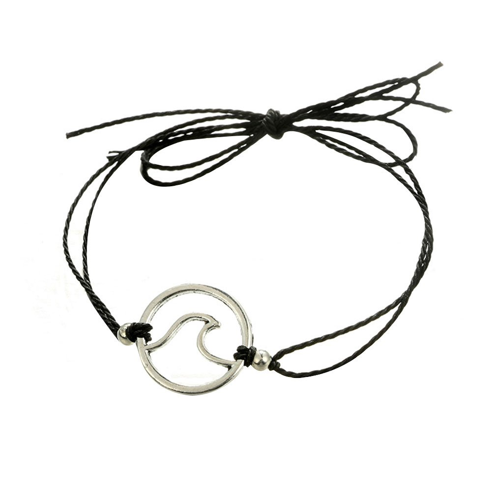 Softmusic Outdoor Holiday Beach Waxed Rope Sea Wave Barefoot Beach Anklet Fashion Women Girls Date Bracelet