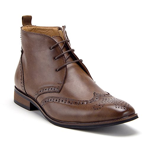Men's VW314 Ankle High Semi-Brogue Lace Up Wing Tip Dress Boots, Brown, 10