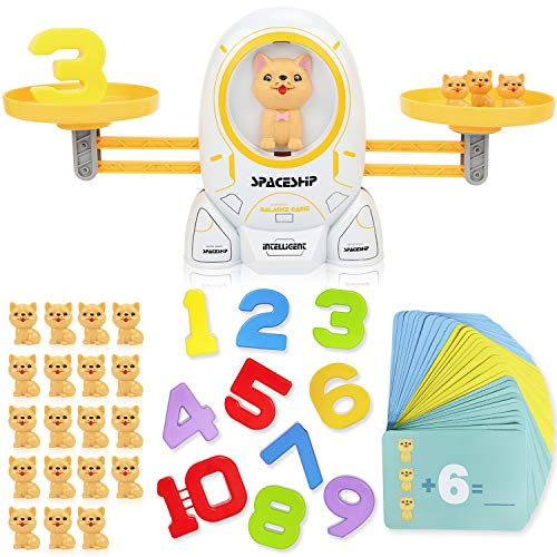 XUNPAS Cool Math Game , Learning Games for Kids Age 5-6-7+ Year Old,Dog Balance Number Stem Toys Educational Preschool Teaching Counting Math Tool Games for Boys & Girls Gifts