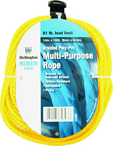 "WELLINGTON CORDAGE 34393 Poly Rope, Yellow, 1/4"" x 100'"