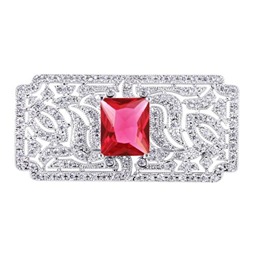 (GULICX Vintage Style Bride Art Deco Zircon Red Brooch Pin Silver Plated Base Ruby Color Wedding)