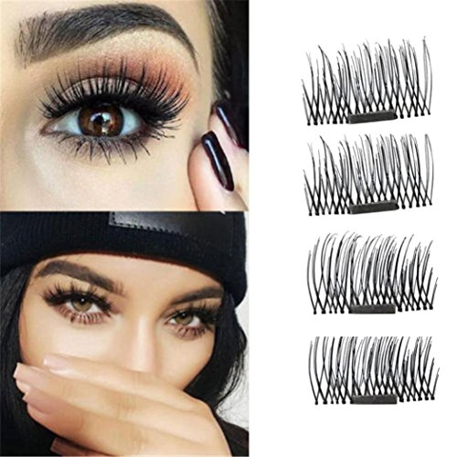 SMYTShop 4Piece/1Pair Ultra-thin 0.4mm Magnet 3D Reusable False Eyelashes Magnetic Eye Lashes(Eyelash length 8-15mm)