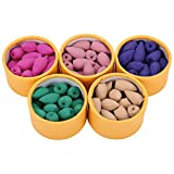 Jeteven 100pcs/5 Box Backflow Incense Cones Sandalwood Lavender Green Tea Roses Cherry Blossom Natural Fragrant Cone
