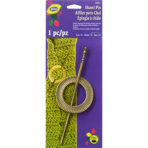 Dritz Textured Round Metal Shawl Pin, Brass
