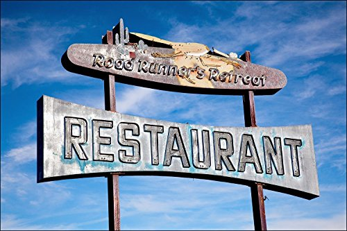 (Vintage mid century roadside California Route 66 restaurant sign with Road Runner.)