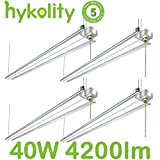 Hykolity 4FT 40W LED Shop Light with Pull Chain, 4200lm Hanging Garage Utility Light with Cord, Robust Aluminium Body, 5000K Workbench Light, 64w Fluorescent Fixture Equivalent, 5year Warranty-4 Pack