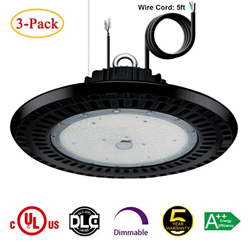 High Bay Led Shop Lights - 100W UFO Dimmable Low Bay Light Fixture (175W-250W Metal Halide Replacement) IP65 Waterproof 5000K Daylight for Warehouse Gym Workshop Factory UL DLC Listed 3PCS ()