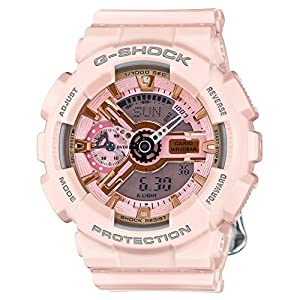 51qQrAk64jL. SS300  - Casio G-Shock Gold and Pink Dial Pink Resin Quartz Ladies Watch GMAS110MP-4A1