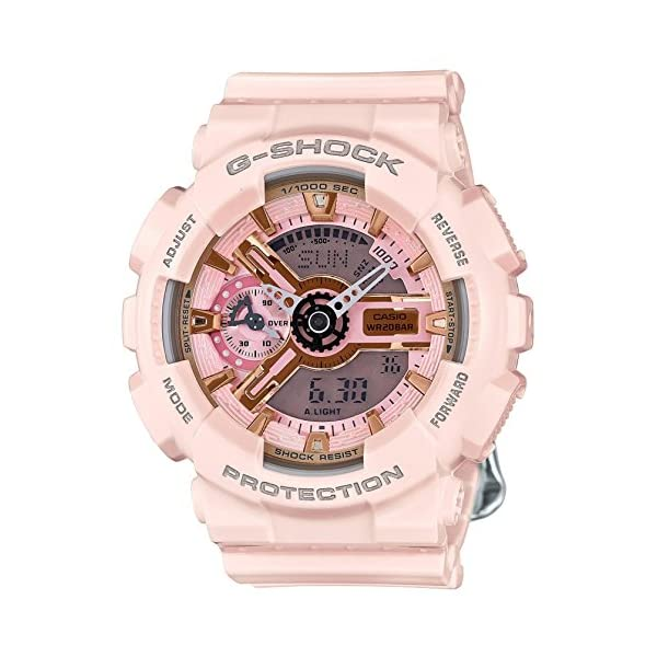 51qQrAk64jL. SS600  - Casio G-Shock Gold and Pink Dial Pink Resin Quartz Ladies Watch GMAS110MP-4A1