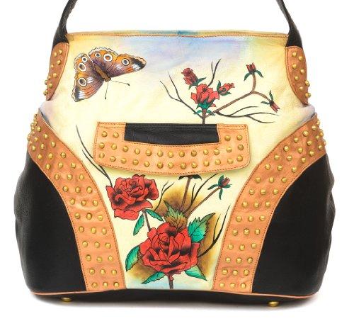 Zimbelmann große Damen Umhängetasche / Shopper / Schultertasche aus echtem Leder - Nappaleder - handbemalt - Rose