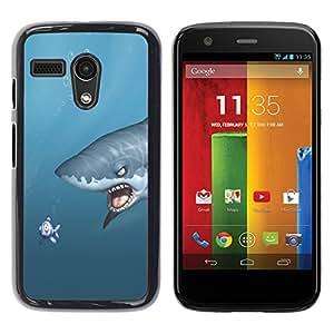 Motorola Moto G 1 1ST Gen - Metal de aluminio y de plástico duro Caja del teléfono - Negro - Shark & Fish - Funny