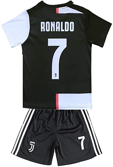 2018-2019 Season Home Juventus Ronaldo #7 Kids /& Youth Soccer Jersey /& Shorts /& Socks Color White