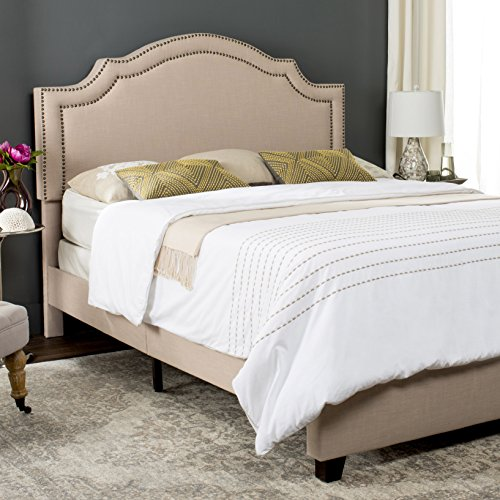 Safavieh FOX6211A-Q Home Collection Theron Light Beige Queen Sized Bed, Espresso-Brass Nailheads