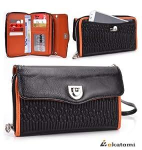 [Splash] ORANGE & BLACK | Universal Women's Wallet Wrist-let Clutch fits Motorola DROID 4 XT894 Case. Bonus Ekatomi Screen Cleaner