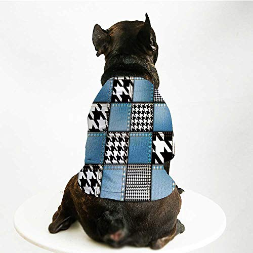 YOLIYANA Farmhouse Decor Warm Pet Suit,Digital Graphic with Denim Forms and Colored Minimalist Figures and Lines Print for Pet Dogs,M