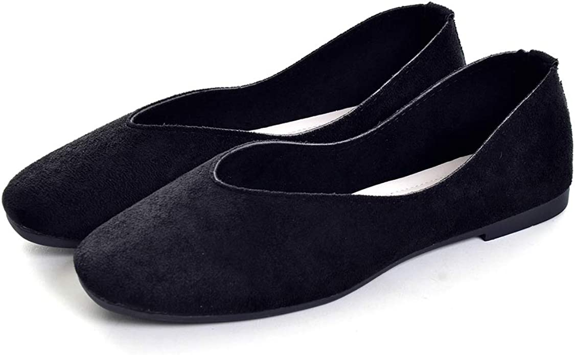 VFDB Womens Faux Suede Slip-on Loafer Flat Shoes,Summer Pointy Toe Shallow Casual Work Shoes Walking Ballerina Shoes