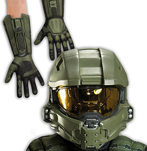 [Halo: Master Chief Child Full Helmet and Gloves Bundle] (Master Chief Childs Costumes Kit Halo)
