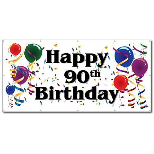Happy 90th Birthday - 3' x 6' Vinyl Banner]()