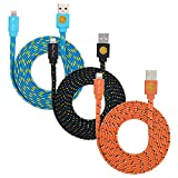 3 Pack of 6ft (2-meter) High Quality Flat Braided Lightning Cables Sync and Charge Cord for iPhone 6S, 6S Plus, iPhone SE (Blue Orange Black)
