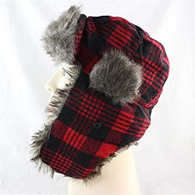 dab2ccbd5b5596 Amazon.com: Gold Happy New Men Bomber Hats Winter Trooper Trapper Hat  Ushanka Russian Hat with Faux Fur Outdoor Sports Skiing Warm Ear Flaps Hat:  Kitchen & ...