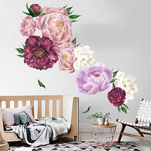 (Peony Flower Wall Sticker, Eoeth Wall Art Sticker Decals Kid Room Nursery Home Decor Gift Flower Wall Decals Home Improvement Treatments Wall Decals Murals Decor Vinyl Removable Mural Paper (A))