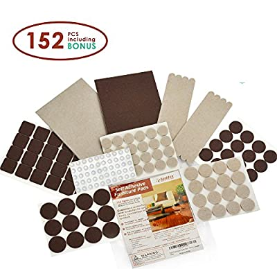 SEDDOX Premium Felt Furniture Pads TWO COLORS SET (BROWN + BEIGE) - 152 pieces! with BONUS Rubber Bumper Pads - BEST Chairs Hardwood Floor Protectors for Yuor Wood and Laminate Flooring