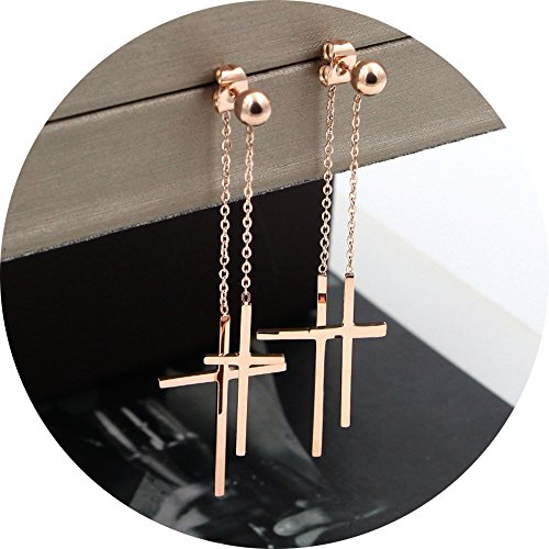 Unique DesignTitanium Steel Rose Gold Plated Shining Double Cross Ball Ear Stud Dangle Earrings