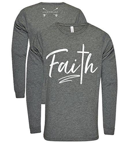 Light Heart Faith Cross Front Tee on Longsleeve Womens Fit Shirt - Grey Triblend, Small