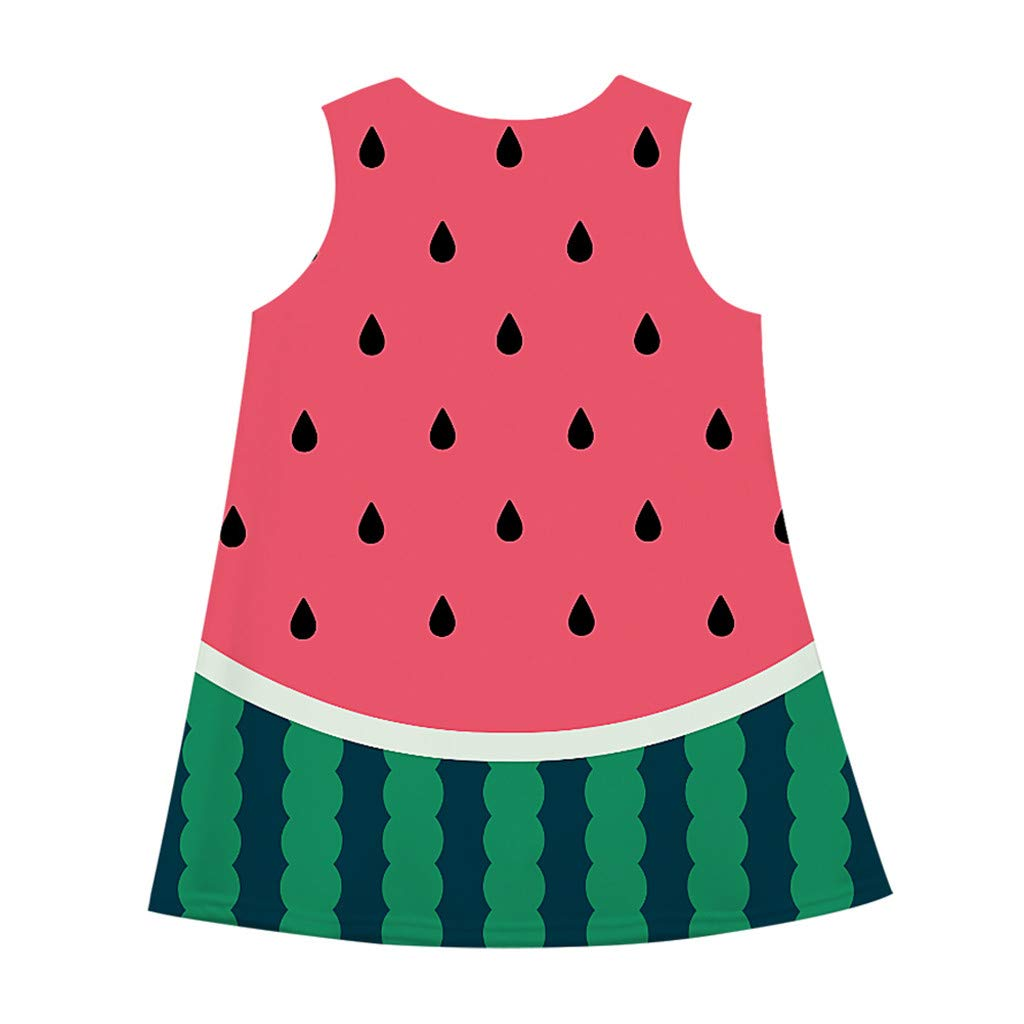 baskuwish Girls Casual Dress Sleeveless 3D Cartoon Print Hawaiian Dress Beach Summer Dresses Sundress