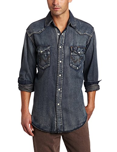Wrangler Men's Authentic Cowboy Cut Work Western Long-Sleeve Firm Finish Shirt,Antique Blue,2X-Large